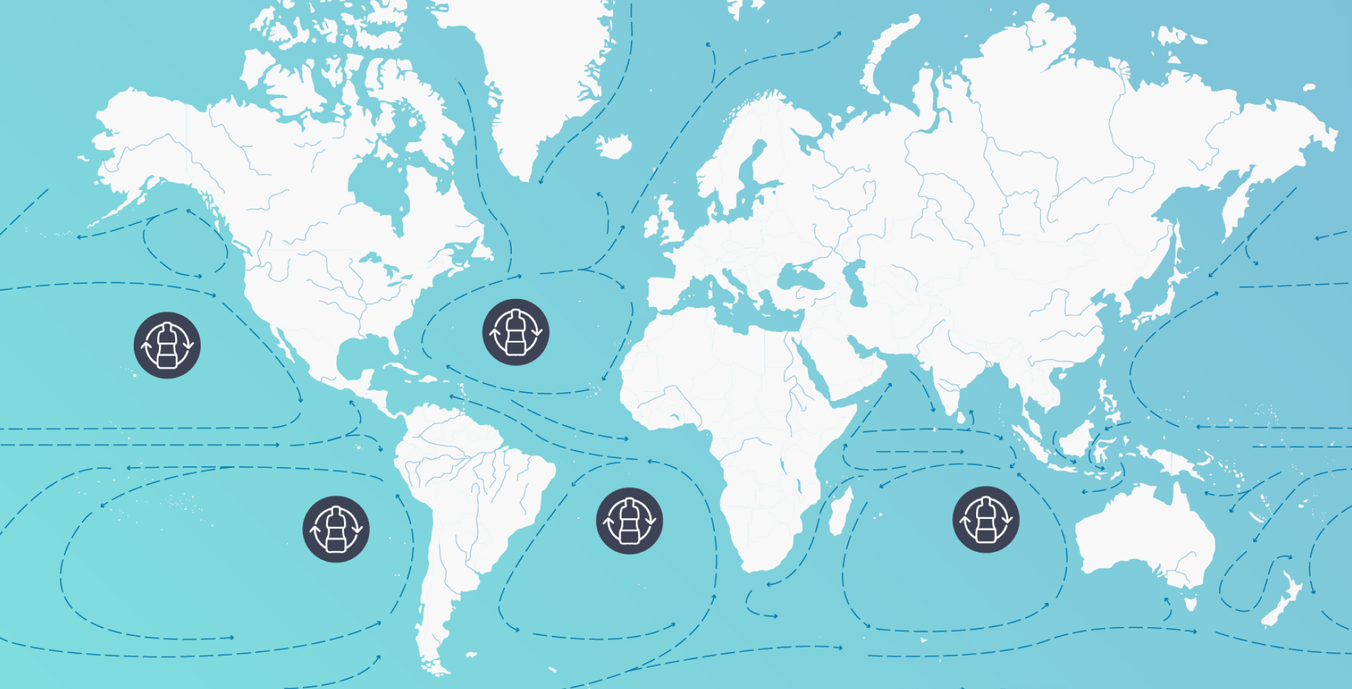 ocean currents carry plastic around the globe